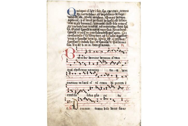 List z  chorální knihy na pergamenu IV., 15 stol.