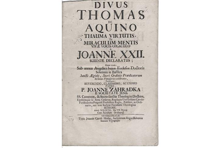 Zahrádka J., Divus Thomas de Aquino, Pragae 1740