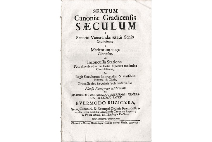 Latinská promluva Sextum Canoniae..., Olom. 1751