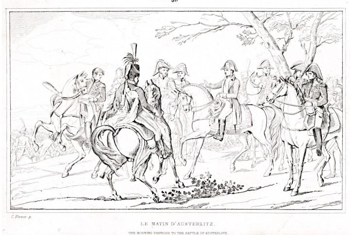 Napoleon ráno před bitvou u Slavkova, lept (1840)