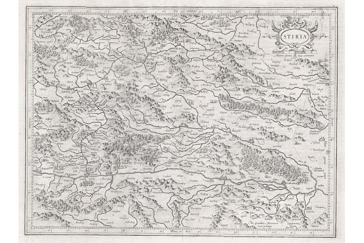 Mercator - Hondius, Stiria, mědiryt, (1620)