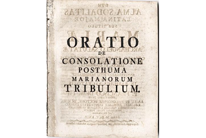 Oratio De Consolatione.. Marianorum, Praha, 1764