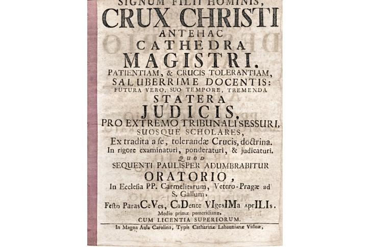 Signum Filii hominis Crux Christi, Praha, 1764