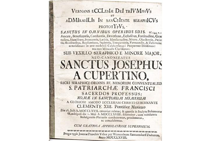 Josephus a Cupertino, Praha, 1768