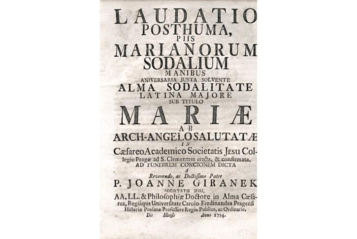 Laudatio Posthuma, Marianorum, Pha, 1754