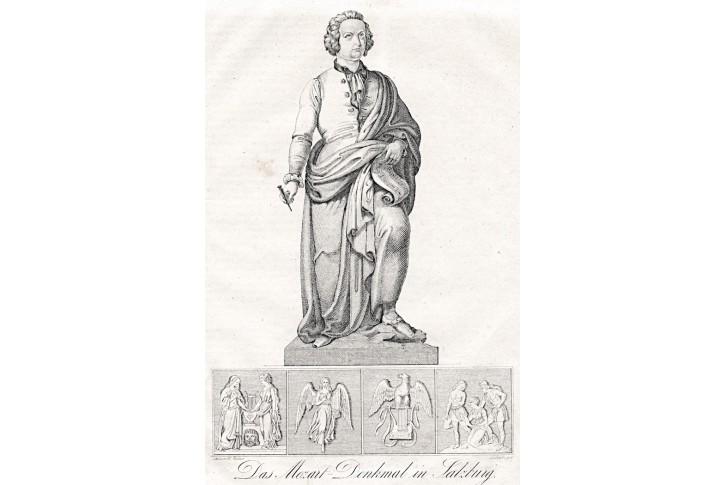 Mozart pomník Salzburg, litografie, 1842