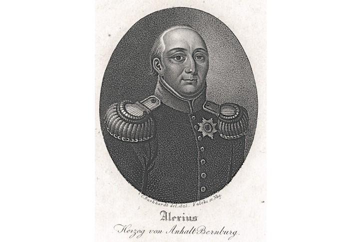Alexius von Anhalt Bernburg, mědiryt, 1825