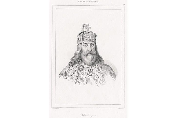 Karel Veliký, Le Bas, oceloryt,  1842