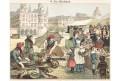 Trh trhovci zelenina, chromolitografie, 1890