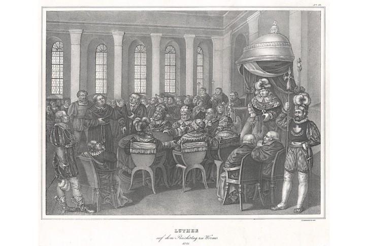 Luther ve Wormsu, litografie, 1827