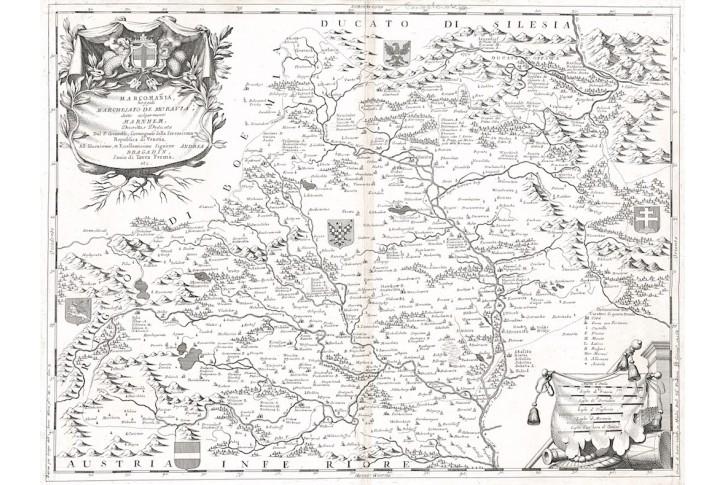 Coronelli : Marcomania- Moravia, mědiryt, 1696