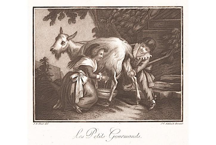 Malí labužníci, Schleich,  mezzotinta, (1750)