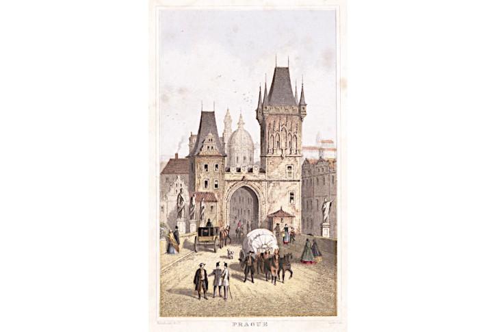 Praha Malostranská věž, kolor. litografie, (1870)