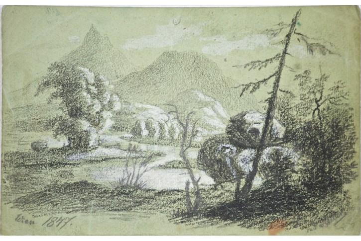 Alpská krajina, kresba 1847