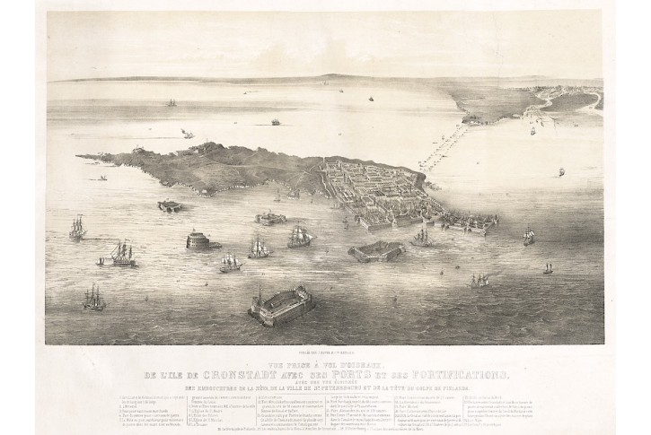 Kronštadt - Petrohrad,  Buffa, litografie, 1853