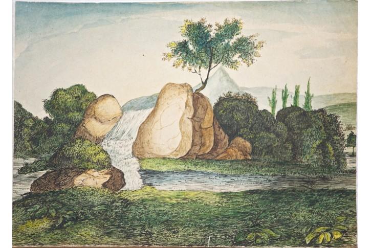 Krajina s vodopádem , kresba polovina 19. stol.