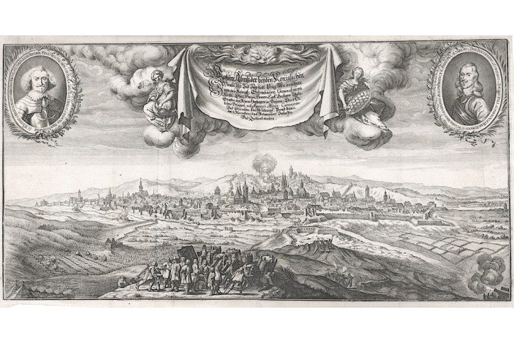 Praha od Žižkova, Škréta - Merian, mědiryt 1652