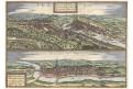 Praha - Cheb, Braun Hogenberg, kolor. mědiryt 1617