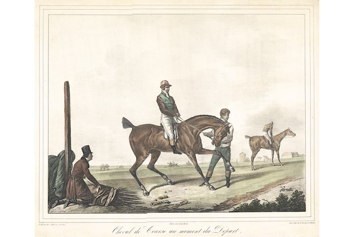 Kuň konec dostihu, Vernet, kolor. litografie, 1830