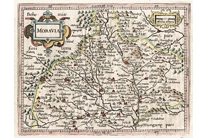 Mercator - Hondius -Moravia, malý, mědiryt, (1620)