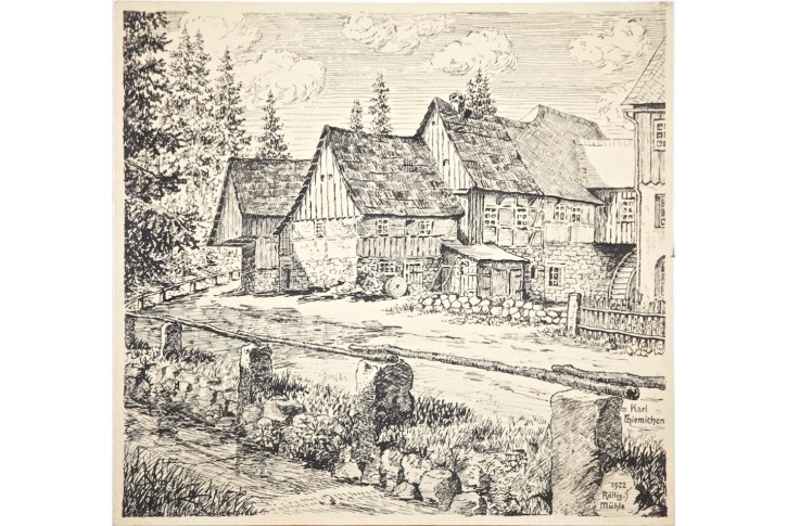 Rölling Mühle, Karl Thiemichen, kresba tuší 1922