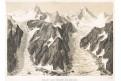 Eiger ledovec, litografie, (1850)