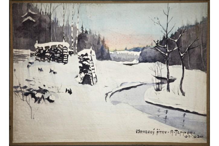 Mrazový jitro, A. Teppor, akvarel, 1918