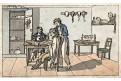 Kadeřník holič, akvatinta kolorovaná, 1820