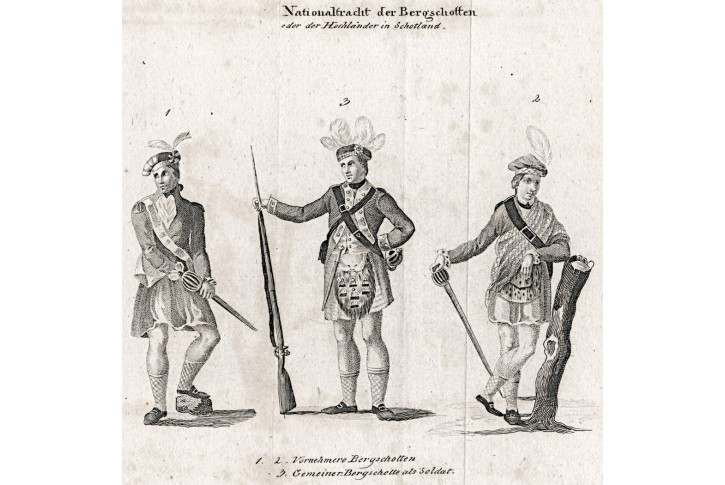 Skotsko kroje, mědiryt, 1808