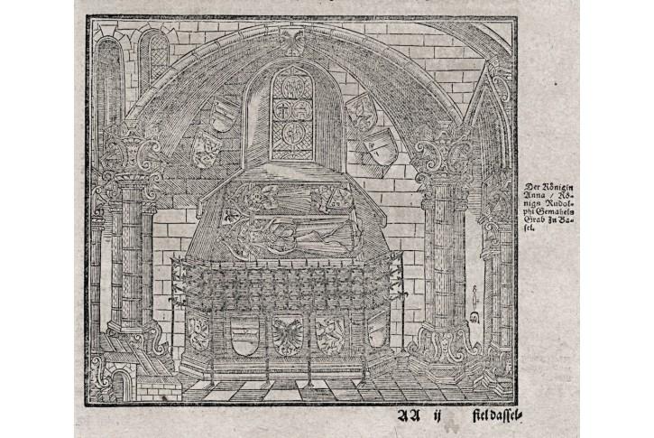 Basel hrob královny Anny, Münster, dřevořez (1580)