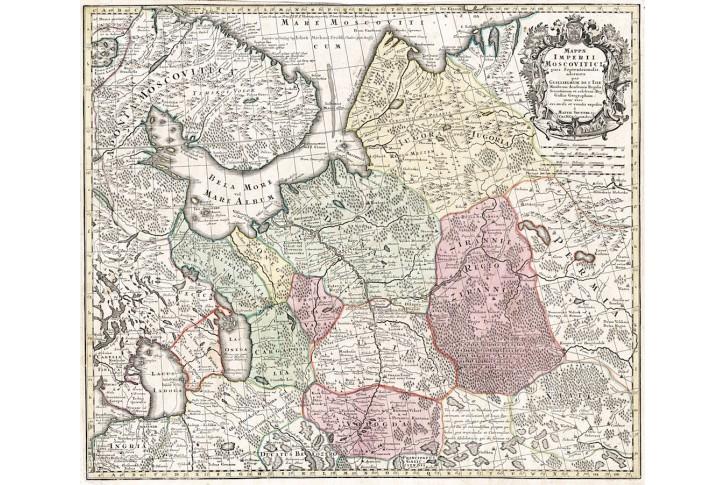 Seutter : Imperii Moscovitici, kol. mědiryt, 1740
