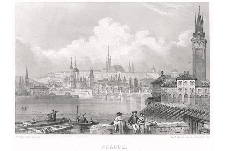 Praha celkový pohled, Rouargue, oceloryt 1860