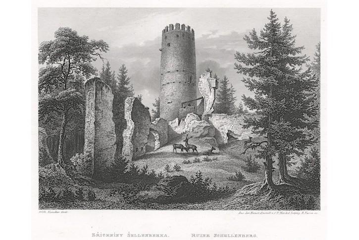Šelmberk, Mikovec, oceloryt 1860