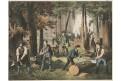 Zahrada zahradníci, chromolitografie, 1890