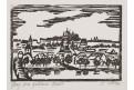 Praha Kampa, J. Mšens, litografie, 1974