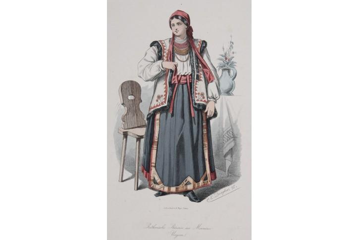 Kroj Rusínský, kolor. litografie, 1875