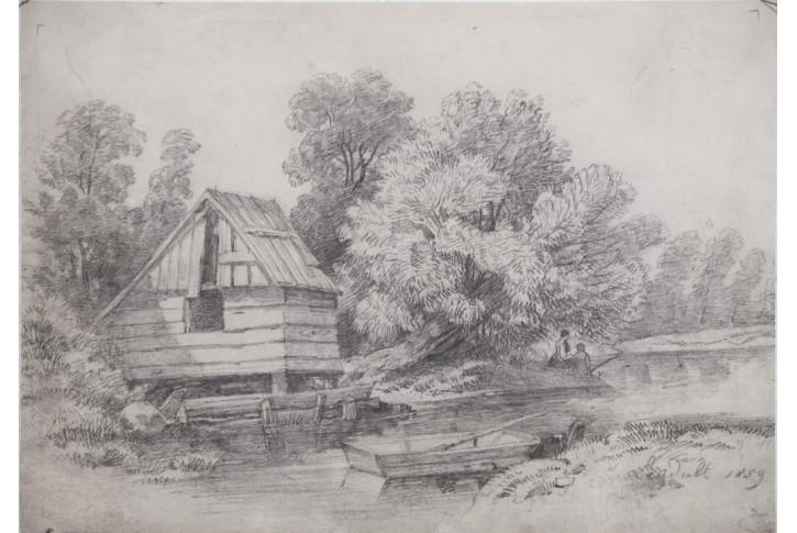 U Vody Laudolt Kresba Tuzkou 1859 Antikvariat Bretschneider