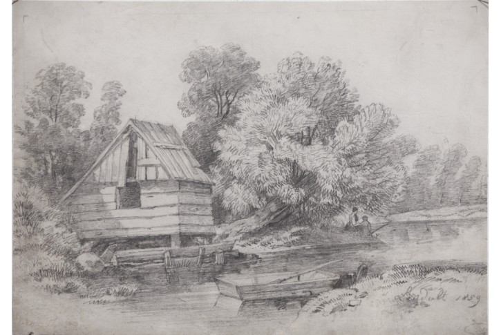 u vody, Laudolt, kresba tužkou 1859