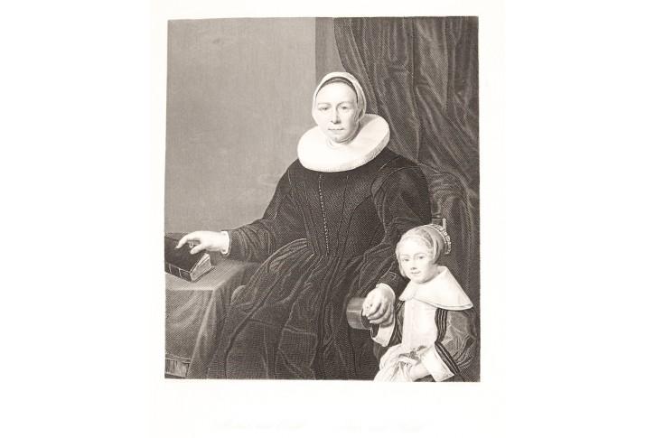 Matka s dítětem , oceloryt, (1860)