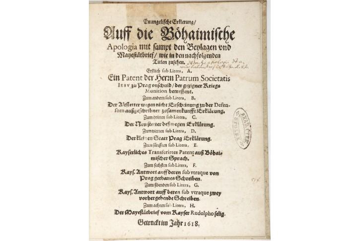 Evangelische Erklärung.., Praha, 1618