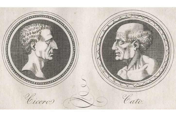 Cicero a Cato, Medau, mědiryt , (1830)