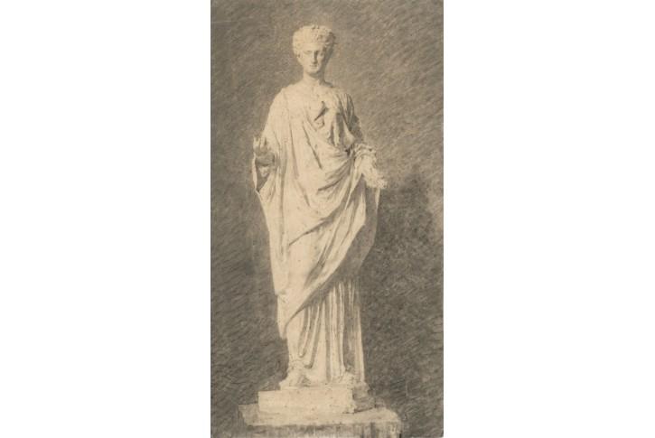 Antická socha, kresba, (1900)