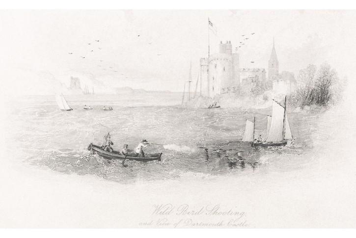 Dartmouth Castle lov ptactva, oceloryt, (1860)